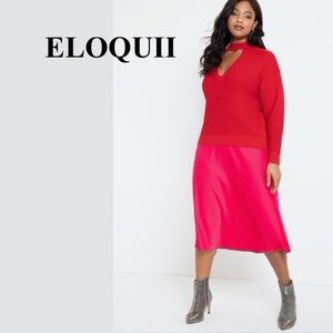 ELOQUII Cutout Necklace Sweater, Red, Size 22/24